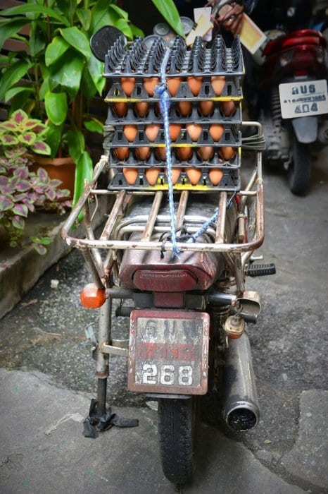 Egg delivery via scooter