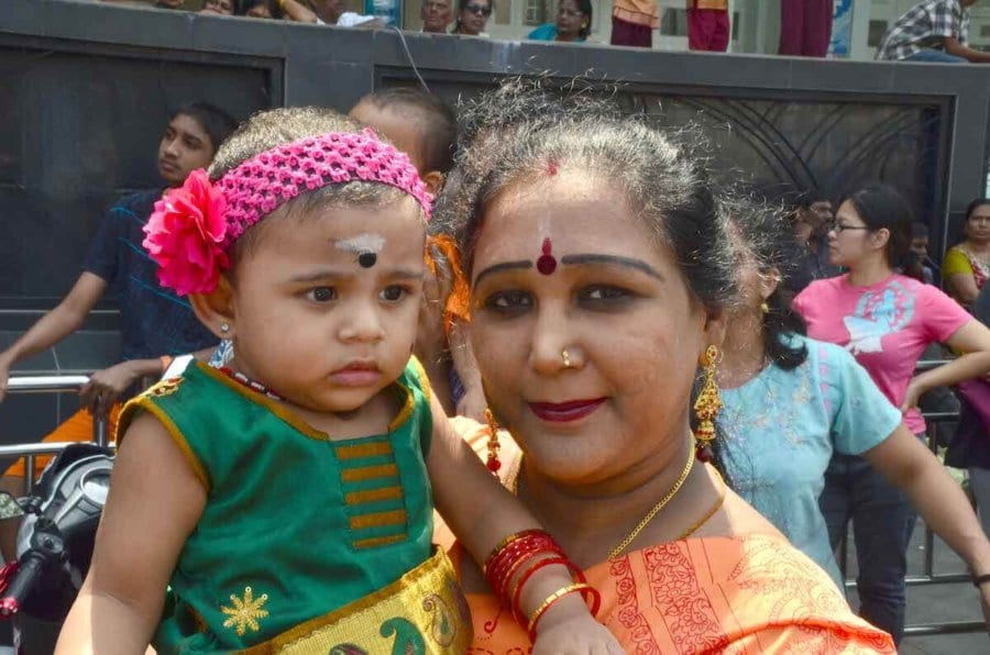 Indian Malaysian woman with her baby
