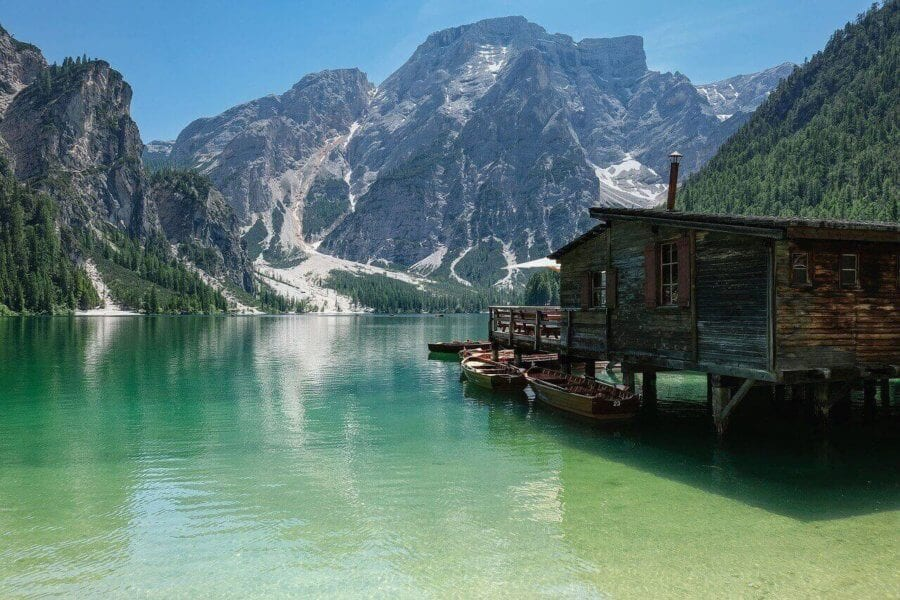 Lake hut in the mountains
