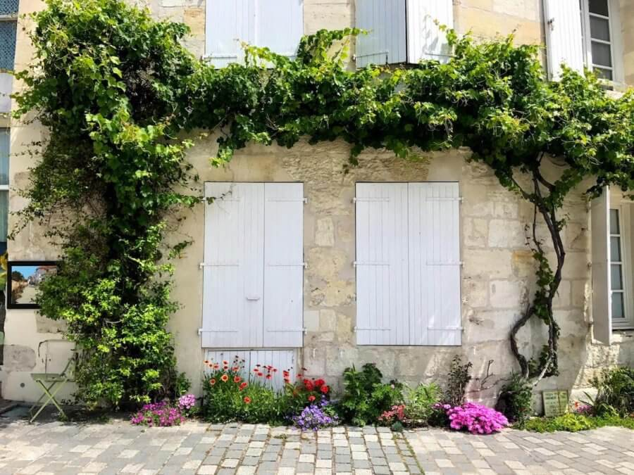 countryside building with white shutters