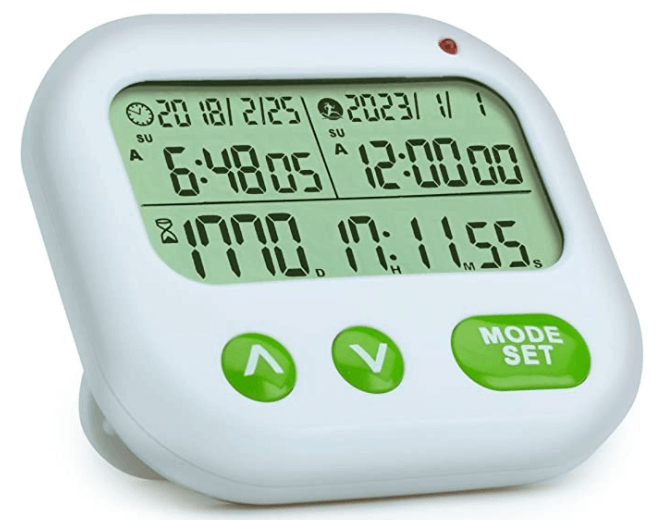 white timer with green buttons. will count down the day until you meet again.