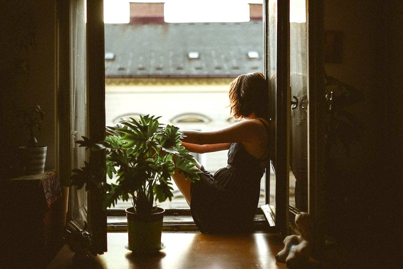 girl sitting in window with plant