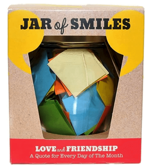 """Colorful box with Jar of Smiles written on it. """"Love and friendship–a quote for every day of the month."""""""