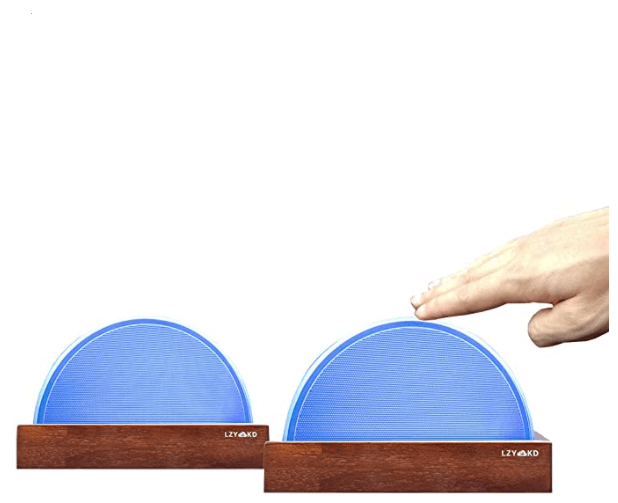 Long distance touch lamps make a great going away gift. Picture shows a man's hand touching one out of two circle blue lights.