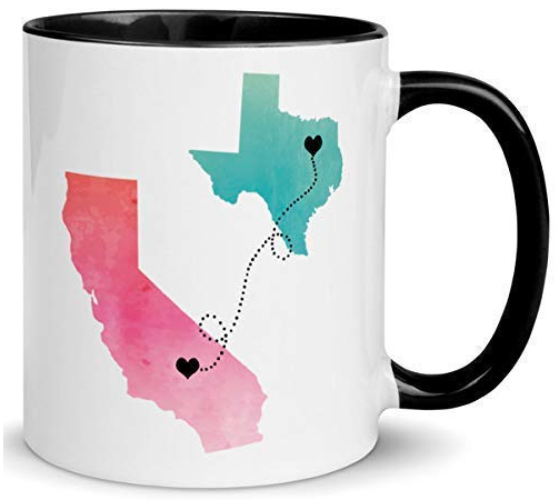 farwell gift idea:  white and black coffee mug with california and texas on it.