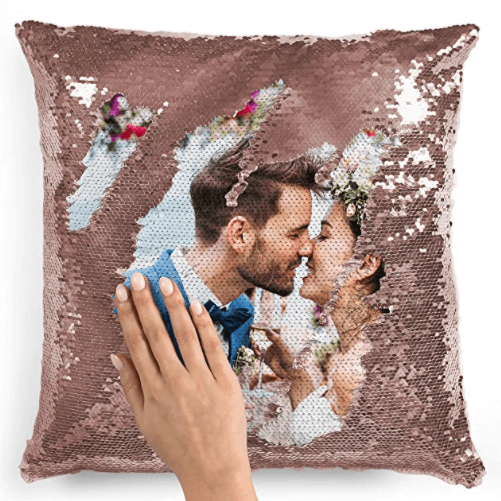 Best going away gift for a couple. Sweep the sequins in one direction, and it's all sparkle. The other way reveals a customized photo of you