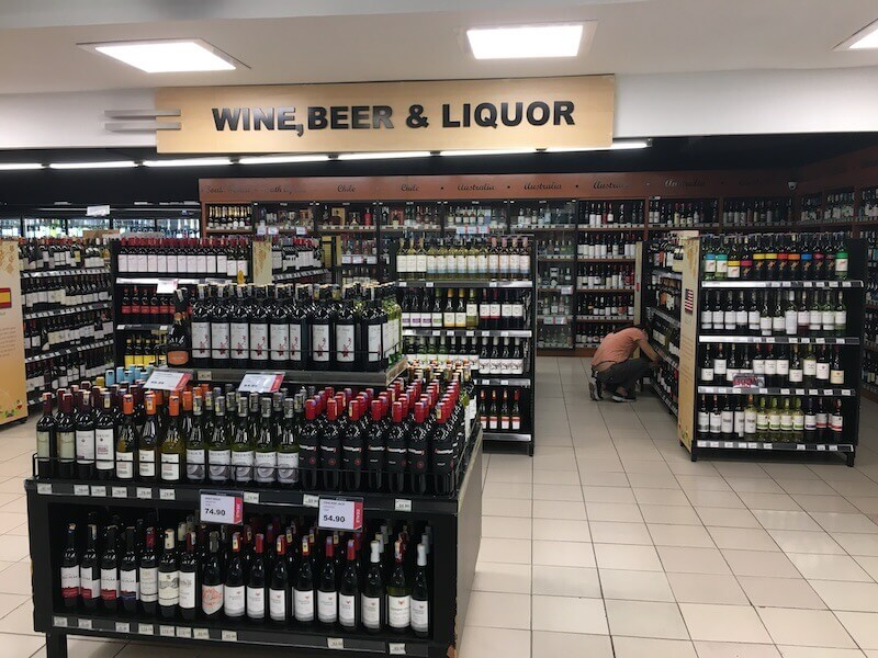 wine section at a supermarket
