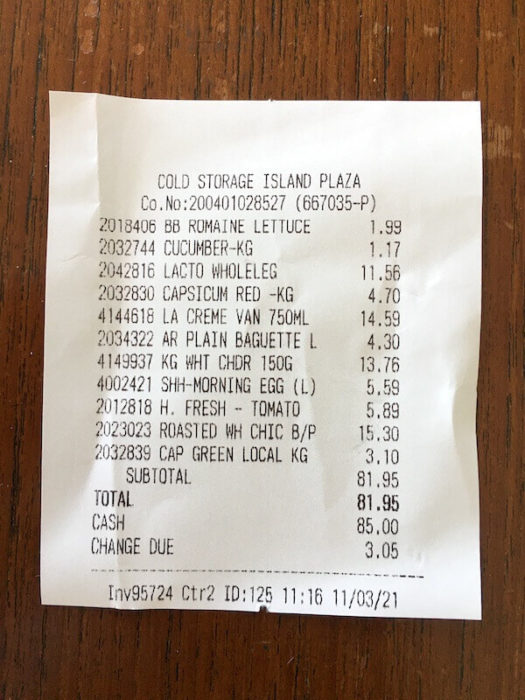 receipt from a grocery store