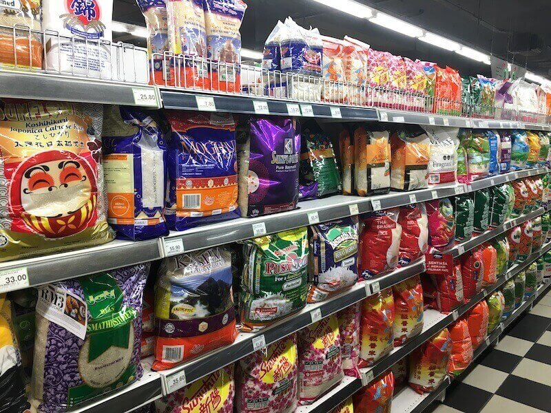 Bags and bags of rice in the Malaysian supermarket